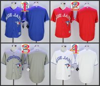 Wholesale 2016 Majestic Official Cool Base MLB Stitched th Season Toronto Blue Jays Blank White BLue Red Gray Jerseys Mix Order