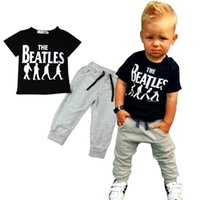 beatles shirt girls - Prettybaby kids boys The Beatles printed t shirts pants set suits short sleeve clothes casual sport trousers outfit Pt0382 mi