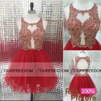 big red cocktail dress - 2016 Real Image Big Red Short Homecoming Dresses Crew Neck Hollow Back Girls Graduation Dresses For Sweet Cocktail Party Gown Custom