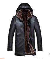 Wholesale Fall Fur one piece clothing men medium long men with a hood leather clothing outerwear S XL