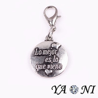 antique words - Round Antique Silver Words Dangle Charm Floating Tag Charm for Living Glass Memory Locket