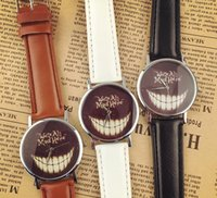 alice leather - New Arrival Women Men Cheshire Cat wristwatches we re all mad here Wrist Watch for women men Alice in Wonderland watch CC224
