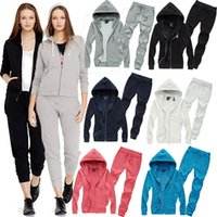 Cheap 2016 Women Casual Suit Large Size S-XL Lady Hooded Tops + Loose Pants Set Lady Clothing Tracksuits..