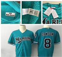 polyester mesh shorts - Men s Florida Marlins Throwback VINTAGE Baseball jersey Andre Dawson Pullover Mesh BP Teal Green Jersey