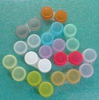 Wholesale Contact Lens Case lovely Colorful Dual Box Double Case Lens Soaking Case colored contact lenses DHL Free pairs