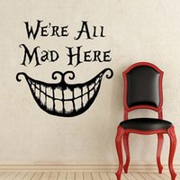 Wholesale D574 We are all mad here Alice in Wonderland stickers decorative stickers Children room Vinyl Creative decor