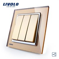 Wholesale Livolo New Push Button Switch Golden Glass Panel Gangs Way Control Wall Light Switch VL W2K3S