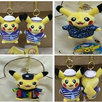 Wholesale Poke Pikachu Plush Pendant Toys For Children Cartoon Striped Sailor Hanging Handbag Car Cell Phone Key Rings Keychain XMAS Gifts cm WX K46