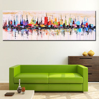Cheap Modern living room decorative oil painting hand painted large long canvas picture Mirage city landscape ABSTRACT WALL ART