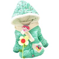 baby hoddies - Baby girls winter coat new fashion cartoon flowers children dot long sleeve hoddies jacket kids cotton heart shaped pocket overcoat
