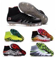 Wholesale 2016 Cheap New arrive hypervenom phantom II Indoor soocer shoes Men football boots cleats laser original High Top Soccer cleats Black