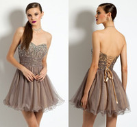 Cheap 2017 Newest Chocolate Short Homecoming Dresses Sweetheart Beading Lace Tulle Corset Short Cocktail Dresses Sexy Backless Prom Dresses
