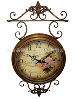antique iron decor clock - Home decor European pastoral wrought iron glass Mute machine core wall clock