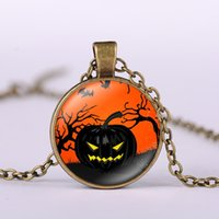 agate lamp - Alloy Vintage Hallowmas Glass Cabochon ghost pumpkin lamp Necklace Bronze Black Silver Chain Pendant Necklace Nice Jewelry Accessary