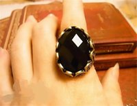 Cheap 2016 Fashion Retro Big Black Oval Gem Stone Rings Wholesale Fashion Carved Gem Ring Retro Personality Rings ZJ-0905016