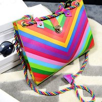 Wholesale Fashion Women Rainbow Bag Shoulder Tote Purse Satchel Women Hobo Bag