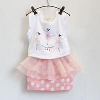 Spring / Autumn ballet t shirts - Girl ballet fashion flower Lace dot Short skirt Suit new children cartoon Short sleeve T shirt Short skirt set Suits B001
