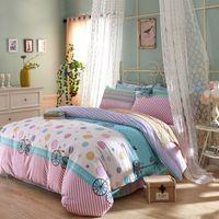 Cheap cotton pink white stripes sea green dots colorful bubbles linens bedding sets Queen Double size comforter set sheets sets