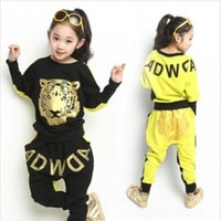 baby clothes sports apparel - Baby kids girl autumn winter clothes set Korean fashion tiger print sport long sleeved sweater haren pants suit girls apparel