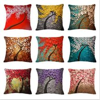 Wholesale Plant Series Cotton Linen Cushions Colorful Tree Pattern Car Throw pillow Home Decorative Square Fundas