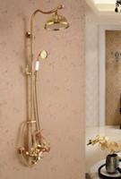 Wholesale exposed wall mount bath shower faucets set rain golden brass shower faucet mixer tap luxury bathroom brass rainfall shower faucet