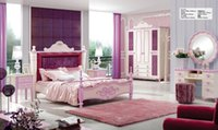 Wholesale Brand New Youth kids Teenage Children Soild Oak Wood Pink Royal Princess Bedroom Furniture Set for girl