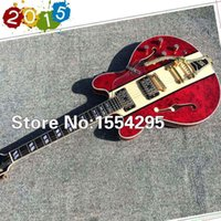 archtop jazz guitar - Custom Jazz Electric Guitar with Hardcase Semi Hollow Body Archtop Guitar with Tremolo Spalted Flamed Maple Top