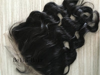 Wholesale 13X6 quot Lace Frontal Ear to Ear Lace Closures Bleached Knots Unprocessed Human Hair Pieces Peruvian Hair Closures Bellahair