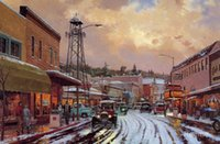 art main - Modern art Landscape Main Street Matinee by Thomas Kinkade paintings for living room Hand painted High quality