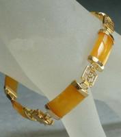 Wholesale 2016 new of Peking China jade bracelet lt lt Yellow Jade Golden Fortune Emolument Longevity Property Luck Link Clasp Bracelet