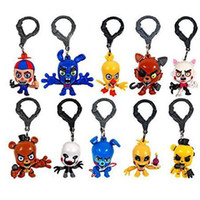 Wholesale 2016 FNAF Freddy Fazbear Foxy Bonnie Chica Figure Hangers Five Nights at Freddy s Keychain Characters Collector Clips Key Ring lo