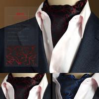 ascot tie silk - High Quality Men Vintage Wedding Formal Cravat Ascot Scrunch Self British style Gentleman Silk Scarves Pattern Neck Tie Luxury