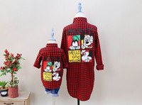 Wholesale 2016 Autumn New Girl Shirts Family Matching Outfits Mouse Cartoon Red Plaid Long Sleeve Fashion Shirts T M05
