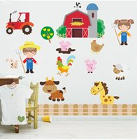 art work kids - Cartoon Children do farm work Pastoral Farm DIY Generic Decal Wall Sticker Kids Room Decor Mural living room vinyl Inspiration art