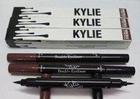 al por mayor lápiz de ojos del maquillaje-Kylie Double-end impermeable doble cara lápiz de cejas Liquid Eyeliner Eye Liner lápiz maquillaje Herramientas cosméticos Negro + Brown 2 en 1