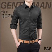 Wholesale The new Men s pure color shirt fashion youth business leisure cultivate one s morality Men s long sleeve shirt
