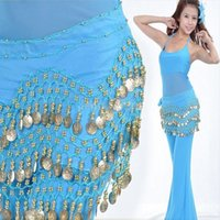belly dancer scarf - Belly Dance Dancing Hip Skirt Candy Color Scarf Wrap Chiffon Layers Silver Coin Waist Belt for Women Dancer Hot