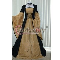 Wholesale Medieval Dress Black And Gold Dress Renaissance Period Cosplay Costume For Adult Women Halloween Custom Made D0826