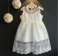 Wholesale 2016 Fashion Summer Girls Dress Lace Ruffles Birthday Party Formal Dress Lovely Princess Dress White K7426