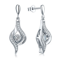 Wholesale Dancing Diamond With Cubic Zirconia Sterling Silver Drop Earrings Popular Jewelry For Women Or Ladies Party DE83320A