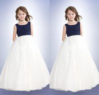 Fasion simple France-Hot Sale A Line Simple Fasion Empire Jewel Longueur de sol Sweep Fold Taffeta Girls Pageant Robes Blue and White