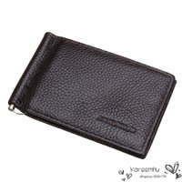 Wholesale New Genuine Leather Bifold Wallet Men Fashion Solid Pures Embossed Brown Color Male Money Clips Casual Business Style