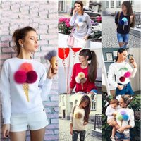 Wholesale Women Cute fur ball ice cream cone printing round neck long sleeved sweatshirt coat spring autumn lovely tops high quality
