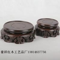 african mahogany wood - Wood stone base African ebony teapot round base stone ornaments mahogany base trumpet