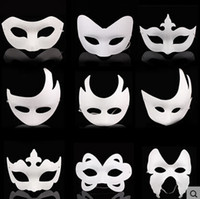 blank half mask - Creative Mask White Unpainted Face Plain Blank Version Paper Pulp Mask DIY Masquerade Masque