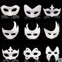 animal half masks - White Unpainted Face Mask Plain Blank Version Paper Pulp Mask DIY Masquerade Masque Mask