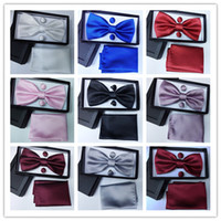active check - Men s bow tie Surface Small Lattice Variety of color choices colors Suite Bow Tie Hanky with Cufflink Set silk