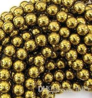 Wholesale new New mm Good Gold Hematite Loose ball Beads Shamballa Findings Fit DIY Bracelet Bead for bracelet hotsale DIY Findings Jewelry DIY