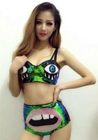 big lips costume - Female singer ds costume dj dance symphony green paillette bra short star big mouse lips costumes bodysuit for stage show