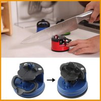 Wholesale Red Blue steel Knife Sharpener with suction pad Scissors Grinder Secure Suction Chef Pad Kitchen Sharpening Tool afilador cuchillos